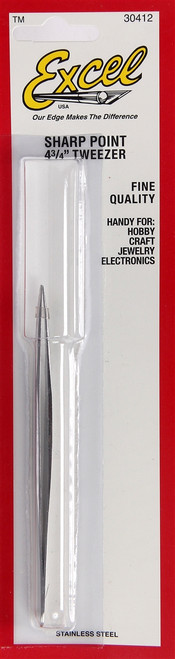 "Excel 30412 4-3/4"" Sharp Point Tweezers"