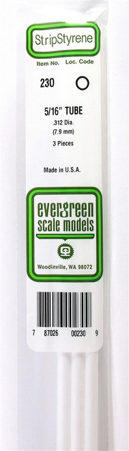 """Evergreen Scale Models 230 Round Tubing 5/16"""" (3)"""