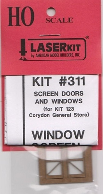 American Model Builders HO 311 Screen Doors and Windows for Kit #123, The Corydon General Store and Post Office