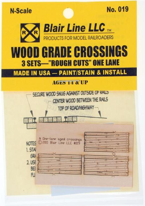 """Blair Line N 019 Laser-cut One-lane """"Rough Cut"""" Wood Grade Crossings (3 sets)"""