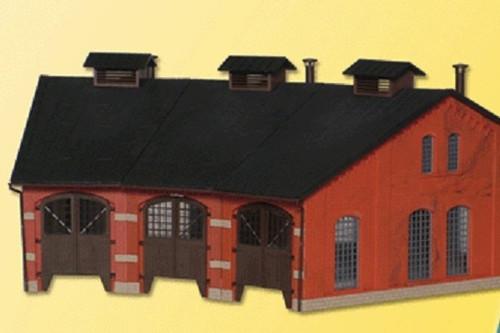 Kibri HO 39452 3-Stall Roundhouse or Engine Shed Kit