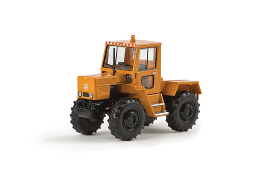 Brekina HO 13703 1975 Mercedes-Benz Trac 800 Farm Tractor, Starmada Kommunal (Orange with German Lettering) (d)