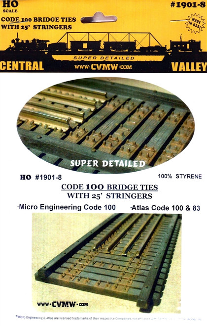 Central Valley Model Works HO 1901-8 Code 100 Bridge Ties with 25' Stringers