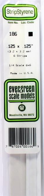 "Evergreen Scale Models 186 Strip .125"" x .125"" (6)"