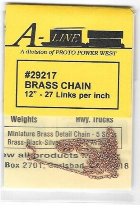 "A-Line HO 29217 Brass Chain (12"" Long, 27 Links per Inch)"