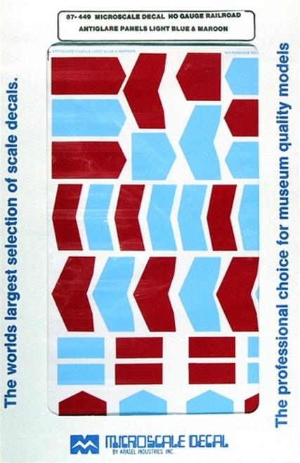 Microscale HO 87-0449 Anti-Glare-Panels, Light Blue and Maroon (d)