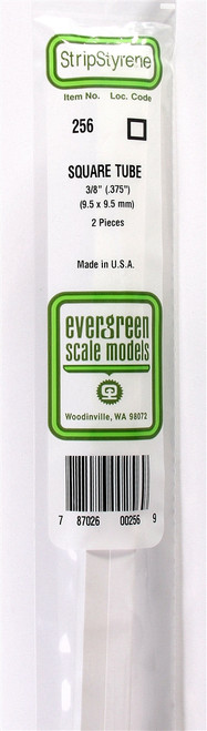 """Evergreen Scale Models 256 Square Tubing .375"""" (2)"""