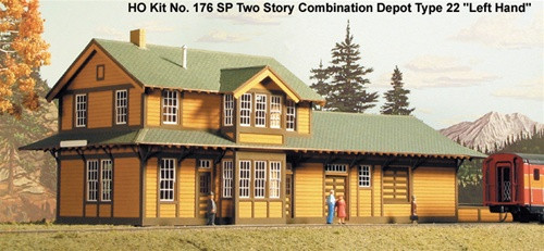 American Model Builders HO 176 Southern Pacific Two Story Type 22 Depot Kit, Left Hand