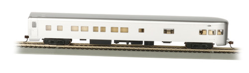 Bachmann HO 14308 85' Smoothside 3-2 Observation Car with Lighted Interior, Unlettered (Aluminum)