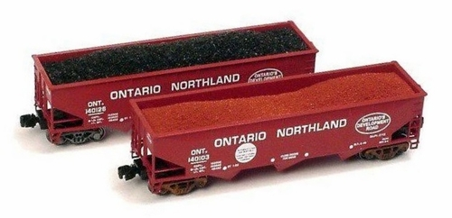 Full Throttle Z FT4029-2 Open 40' Offset 70-Ton Hoppers Set #2, Ontario Northland (2-Pack)