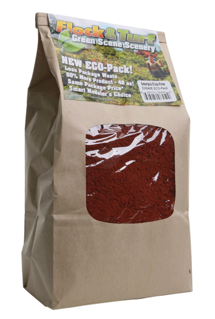 Scenic Express EX840E Flock and Turf Ground Cover, Georgia Clay Fine 48 oz. ECO Pack
