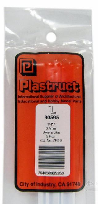 """Plastruct 90595 ZFS-8 Styrene Zee Bar, 1/4"""" (5) (d)"""