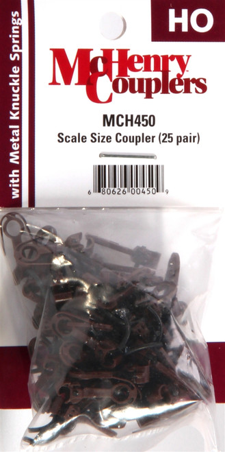 McHenry Couplers HO 450 Scale Size Coupler with Metal Knuckle Springs (25 Pair)