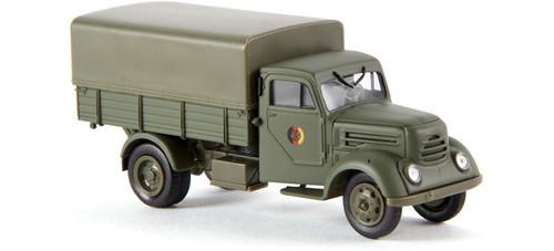 Brekina HO 30708 1950s Robur Garant Low-Side Delivery Truck with Tarp Cover, NVA (German Lettering)