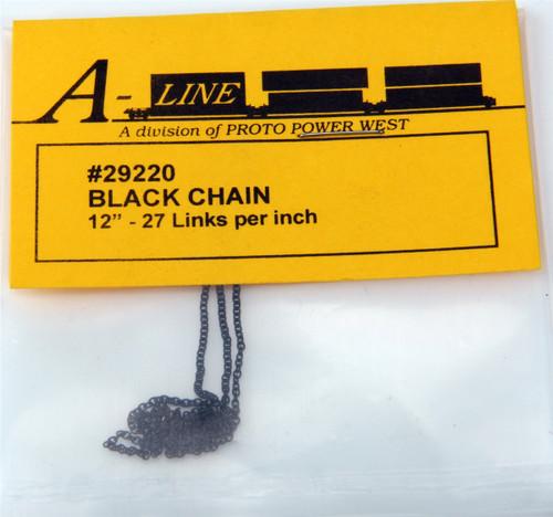 "A-Line HO 29220 Preblackened Brass Chain (12"" Long, 27 Links per Inch)"