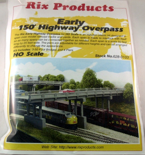 Rix Products HO 628-0103 Early 150' Highway Overpass Kit