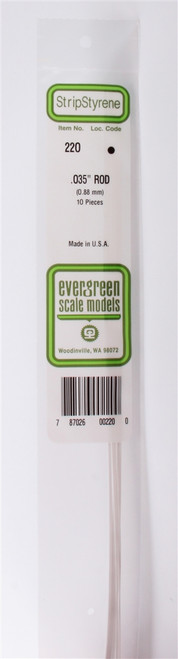 """Evergreen Scale Models 220 Round Rod .035"""" (10)"""
