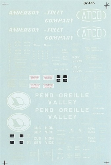 Microscale N 60-0415 50' All Door Box Car Anderson-Tully 50' Double Dr Pend Oreille Valley (d)