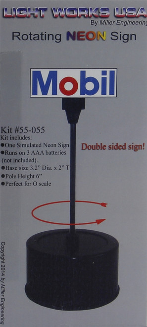 Miller Engineering O 55-055 Mobil Rotating Sign, Animated Neon Style Sign Kit (d)