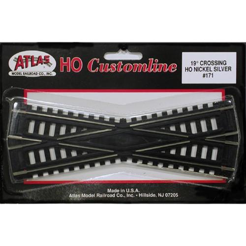 Atlas HO 171 Code 100 Track 19-Degree Custom-Line Crossing