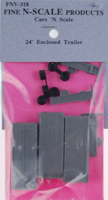 Fine N Scale 318 24' Enclosed Trailer Kits (3)