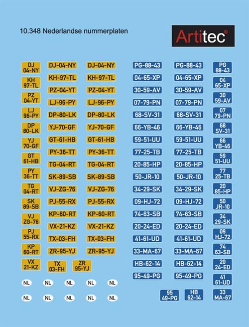 Artitec HO 10.348 NL Dutch License Plates (d)