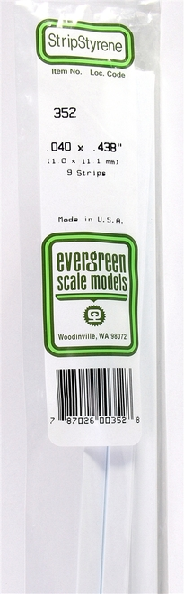 "Evergreen Scale Models 352 24"" Strip Pack .040"" x .438"" (9)"