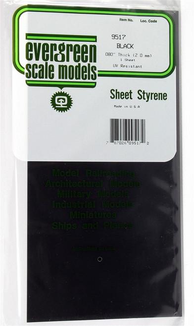 """Evergreen Scale Models 9517 6"""" x 12"""" Black Styrene Sheet .080"""""""