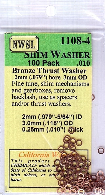 "NWSL 1108-4 Bronze Shim Washer, 2mm ID - 3mm OD, .010"" Thick (100)"