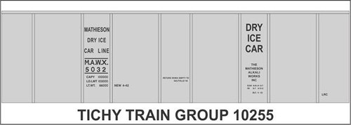 Tichy Train Group HO 10255 Mathieson Dry Ice 40' Insulated Steel Box Car Decal Set (d)
