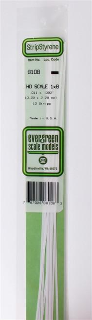 """Evergreen Scale Models HO 8108 Strip .011"""" x .090"""" (10)"""