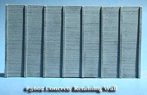 Fine N Scale 3602 Board Formed Concrete Retaining Wall/Tunnel Liner with Pilasters (2)