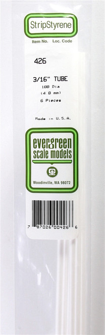 """Evergreen Scale Models 432 .375"""" Round Tubing (4)"""