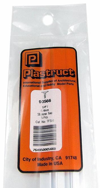 """Plastruct 90566 TFS-8 Styrene Tee, 1/4"""" (5)"""
