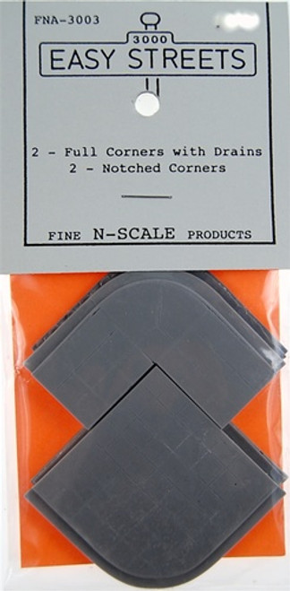 Fine N Scale 3003 Full Corners with Drains (2) and Notched Corners (2)