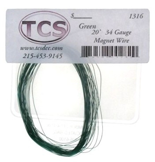Train Control Systems 1316 Green 20' 34 Gauge Magnet Wire