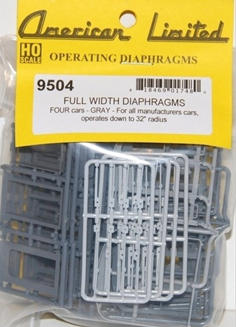 American Limited HO 9504 Full Width Operating Diaphragms (4-car pack, Gray)