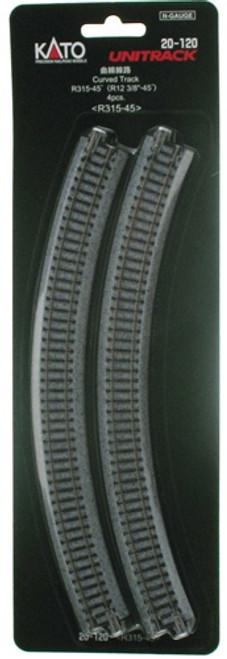 "Kato N 20120 12-3/8"" Radius Curve 45-Degree Unitrack (4)"