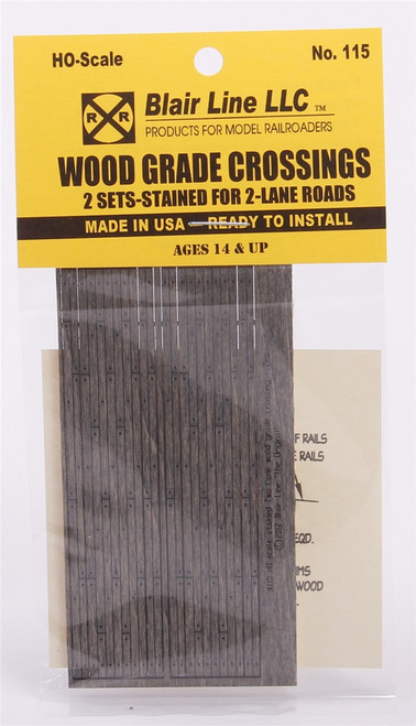 Blair Line HO 115 Wood Grade Crossing Kits, Two Lane (2 Sets)