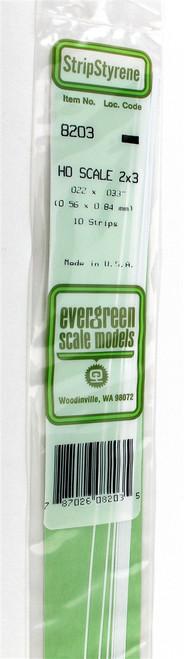 """Evergreen Scale Models HO 8203 Strip .022"""" x .033"""" (10)"""