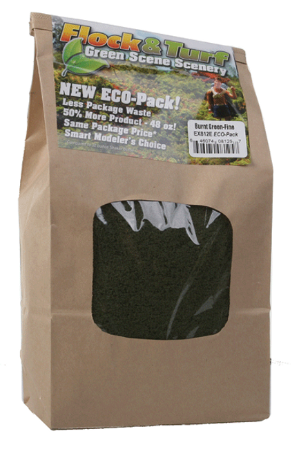 Scenic Express EX812E Flock and Turf Ground Cover, Burnt Green Fine 48 oz. ECO Pack