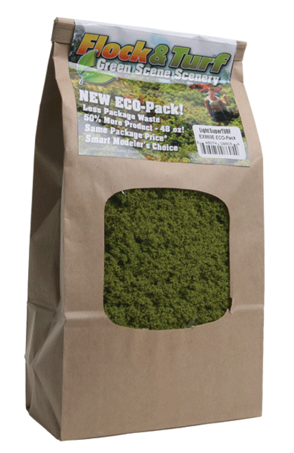 Scenic Express EX860E Flock and Turf Ground Cover, Light Green SuperTurf 48 oz. ECO Pack