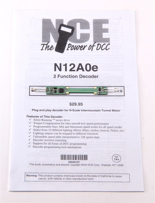 NCE 524127 (N12A0e) Drop-in decoder for N-Scale Intermountain Tunnel Motor, White LEDs