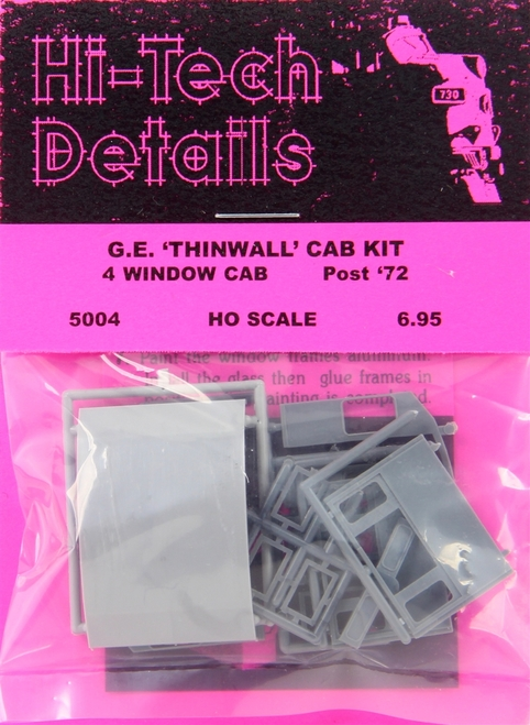 Hi-Tech Details HO 5004 Post-1972 GE Diesel Thinwall Cab Kit, 4-Window Version
