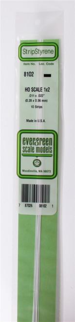"""Evergreen Scale Models HO 8102 Strip .011"""" x .022"""" (10)"""