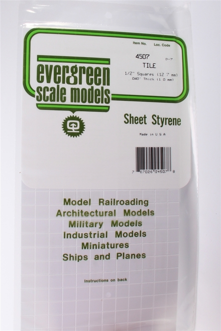 Evergreen Scale Models 4507 Square Tile 1/2""