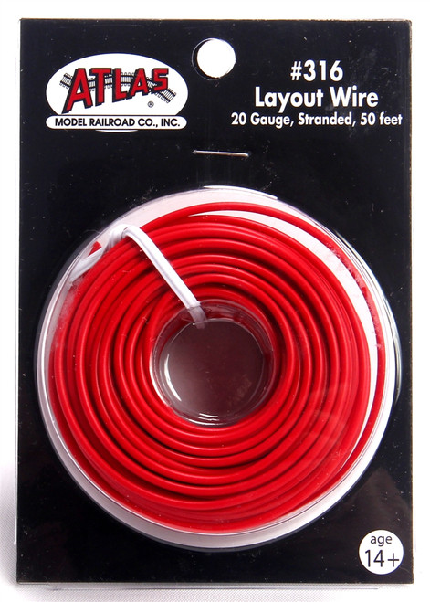 Atlas 316 50' Red 20 Gauge Stranded Layout Wire