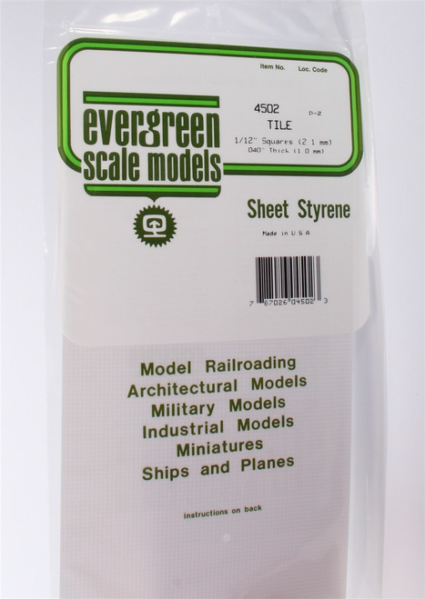 """Evergreen Scale Models 4502 Square Tile 1/12"""""""