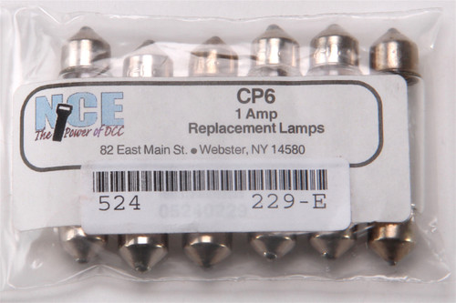 NCE 524229 1-Amp Replacement Lamps for CP6 (6-Pack)