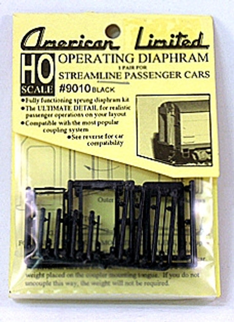 American Limited HO 9010 Streamline Passenger Car Operating Diaphragms, Black (1 pair)